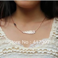 Typical high quality titanium Feather rose gold  Necklace women free shipping