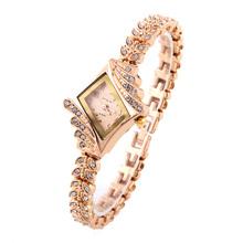 1pcs Rhombic Dial Dress Watches Leaf bud King Girl Women Casual Watch Analog Rose Gold Crystal Ladies Quartz Wristwatches(China (Mainland))