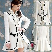 2014 Cheap Winter Autumn Female White Petal Black Slim Wool Blend Trench Outerwear  Lace Plus Size Women Slim Skirt Coat  nz155