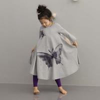 [retail] girls spring Autumn design beach dress,kids butterfly printed  long design ,2030