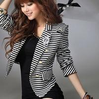 Free Shipping Cotton Blend White and Black Women Fringe Jacket Zebra Stripe Jackets Blazer Suit Office Lady Cardigan Coat NZ101