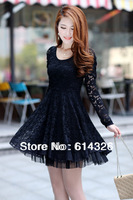 New 2014 Spring Women Casual Lace Dress Elegant Long Sleeve Plus Size Dress High Quality Women Summer Dress