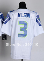 Free Shipping Cheap Wholesale Authentic Elite American Football Jerseys #3 Russell Wilson Jersey Embroidery Logo Mixed Order