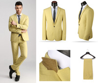 New 2014 Top Wool Formal Suits for Men,XS-4XL Blue/Yellow/Beige One Button Wedding Tuxedo (coat+pants),Business Suits for Men