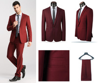 2014 New Single Breasted Wool Suits,Red/Blue One Button Formal Business Suits,Handsome Wedding Tuxedo for Men,XS-4XL coat+pants