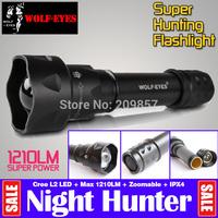 Tactical Brightness Wolf-eyes Nite Hunter Night Hunter 1070 Lumen Cree U2 Linterna LED Zoom Flashlight Underwater Flash Light