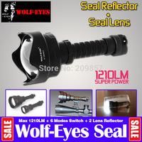 Professional Flashlight Wolf-eyes Seal Lens 1210Lm Cree L2 Chip 6 Modes Long Beam Range Lantern IPX8 Waterproof +  2 x Reflector