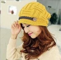 Fashion New Korean Winter Hats Girls' Warm Wool Twist Knitted Hat Fashion Beanies Button Design Cap Wholesale 10pcs/lot (OZ56)