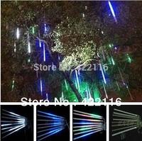 1set 8 Tube 50cm 30 LED total 240 LED Meteor Shower Rain Tube Light White Outdoor Tree Decoration AC 220V 110V-240V Wholesale!