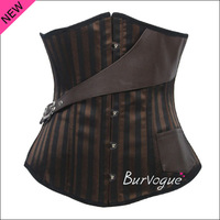 2014 New leather corset Bronze Steel Bone Corset bustier steampunk underbust corset women waist training punk wear tops S-XL