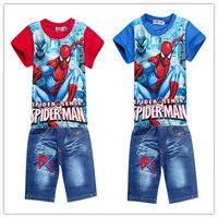 new 2015 Kids Clothes baby clothing Children Sport Suit Kids Clothes Sets Spiderman sports costumes baby boy Clothing Set