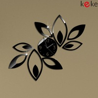 Big flower wall clock modern design luxury mirror wall clock,3d crystal mirror wall clocks,best gift!Free shipping!