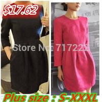 NEW 2014 Casual Dress Small Jacquard and Clipping Three-dimensional Decorative Pattern Fabric Print Dresses  Plus Size S - XXXL