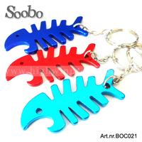 (500pcs/lot) fish bone key chain bottle opener ,mixed colors,free laser engraving logo, free shipping,fashion gift