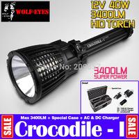 Free EMS Ultra Powerful Wolf-eyes Crocodile 12V 40W HID 3400LM High Lumen Special Tactical Strobe Searching FlashLights + Case