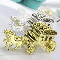 Free Shipping 12pcs Cinderella Theme Clear/Silver/Gold Carriage Design Wedding Favor Box/Candy Box/Wedding Box/Birthday Supplies