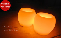 "Funlife Hot Sale 2"" Mini Oval Wedding Party Anniversary Candle Paraffin Wax Ivory Flameless LED Candle Free Shipping 2pcs BN1001"