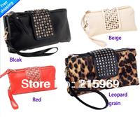 Women day clutch bag  PU women's long design wallet rivet day clutch evening bag small bag women's handbag free shipping 4size