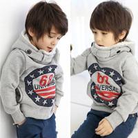 Good quality children's fleece Korean version Autumn 68 thick cotton cashmere sweater hooded Suitable for boy 5pcs/lot