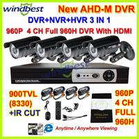 HD 900TVL IR CUT 4CH 960H 1080P HDMI H.264 Cloud Network 3G/Wifi CCTV DVR Kit 36pcs IR LEDs Camera Surveillance Video System