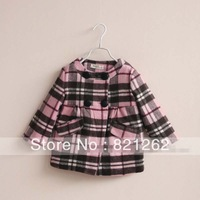 2013 new autumn and winter children clothing girls coat jacket outerwear wool blend plaid quilted double-breasted pocket 2-10T