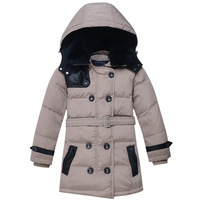 Super quality Super warm boys down coat long design,kids down parkas rabbit's hair collar hood removable for winter