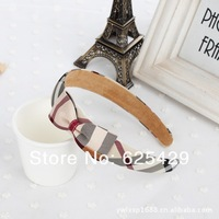 Free shipping wholesale 2014 cute British style plaid cover bow hair bands for women hair accessory leather girls headband 1pcs