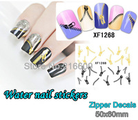 Free shipping 20pcs/Lot Nails Gold and Black Zipper Sticker Nail Art Wrap Water Transfers Sticker Floral Decals Decoration #1268