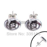 Free shipping! Enamel Sons of Anarchy Earring Stainless Steel Jewelry Grim Reaper Motor Earring Studs SJE370018