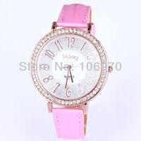 2013 Newest Luxury Women's Rhinestone Watches Fashion Students' Quartz Women PU leather Dress Watches Free shipping Wristwatches