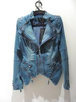 Free shipping Brand New Autumn Spring purchasing denim jacket long-sleeved T-shirt fashion coat big yards S - XXL Wholesale