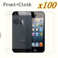 Anti fingerprint Frosting  Screen Protector For iphone 5 5s, no Package 100pices/lot (50 Front film+50 cloth),free shipping