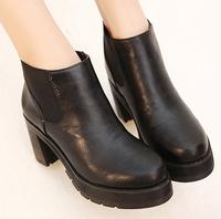 Magazine hot-selling platform vintage PU bottom lyrate thick heel platform high-heeled female boots shoes women motorcycle boots