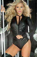 Dear Lover Long Sleeves Stand Collar Tied Black Matte Leather Ruched Romper Cutout Back Thong Bottom Jumpsuit Sexy Clubwear 3120