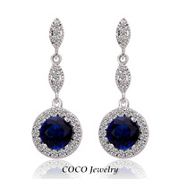Hot Sale Blue Austrian Crystal Circular Pendant Dangle Earrings 2014 New Gold Plated Fashion Women Designer Jewelry
