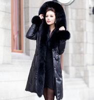 ems shipRussia 2013 warm winter women new  goose down natural fox fur collar sheepskin leather jacket coats ,fox fur cape 4XL