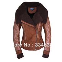Free Shipping 2013 Best NEW Women's Winter Fashion ONE FUR Coat Turn-Down Collar Female Sheepskin