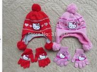 2014 winter newest free shipping 5sets /lot hello Kitty Bomber Hats Knitted caps+gloves 2pcs set kids winter polar fleece gorro