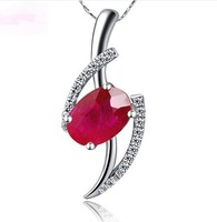 Free shipping  1.0ct 100% Real Natural Ruby Gemstones 0.11ct South Africa Natural Diamond Pendant Women Jewelry