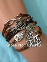 Free Shipping!6PCS/LOT!Brown Thread Knitted Bracelet Metal Alloy Tree Owl Musical Infinity Build You Own Design Jewelry S-487