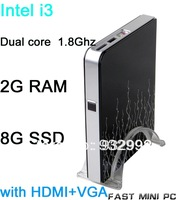 with HDMI+VGA+WIFI  2G RAM 8G SSD black style intel i3 dual core 1.8Ghz mini computer  less than 30w   power