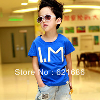 2014 summer children clothing letters boys kids cotton short sleeve t shirts 3T-10