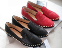 Women's Brand Flats,Spring 2014 New Korean Fashion Casual Rivet Flat Shoes,Women 100% Genuine Leather Cow Flat shoes