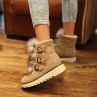 2013 preppy style flat candy fur boots autumn and winter cotton boots martin boots casual shoes boots female