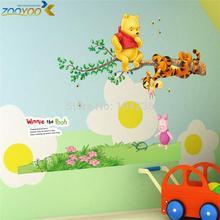 transporte livre bonito adesivos de parede urso para quarto de crianças zooyoo703 casa quarto diy adesivo decorativo quartos de bebê decalques de parede de animais(China (Mainland))