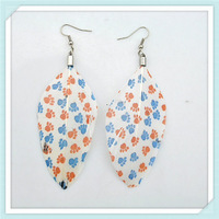 2013 fashion feather drop earring with printing design for women cheapest wholesale