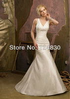 Promotion Cost-effective Free Shipping Bridal Dress V-neck Pleat Lace Up Meraid Wedding Dresses