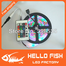 5M/roll 3528 RGB flexible led strip, 60leds/M & 24key IR Romote Controller free shipping by China Post.(China (Mainland))