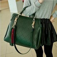 New2014desigual women messenger bags leather handbags plaid bags casual vintage bag one shoulder tassel handbag women's handbag