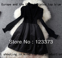 C Fashion women's 2013 lantern sleeve turtleneck bead-chip princess tiebelt elegant autumn and winter one-piece dress